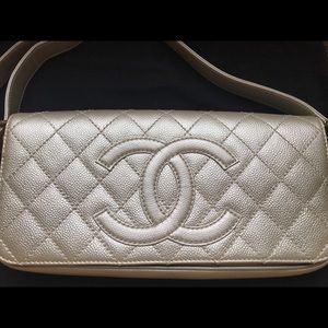 Auth Chanel pearl metallic purse clutch FIRM PRICE
